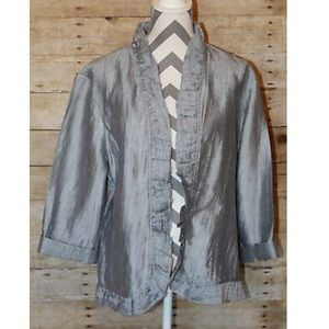 Chico's Striped Ruffle Front and Hem Jacket Sz. M